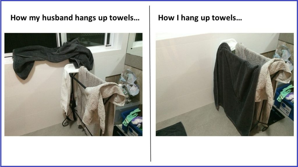 How my husband hangs towels